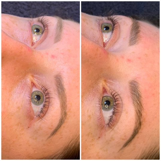 Brow lamination over old microblading.