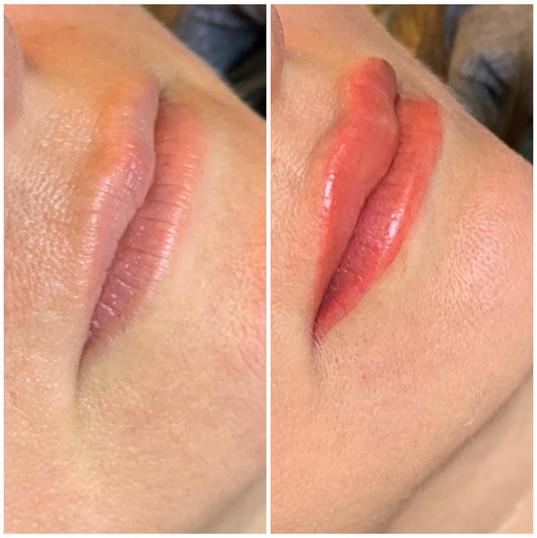 Lip tattoo immediately after.