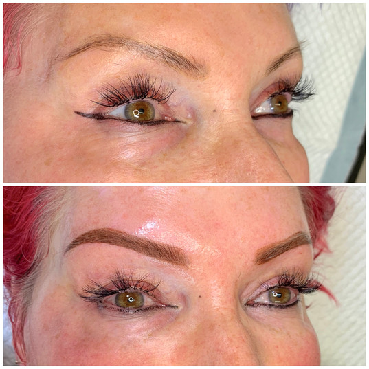 Cover-up brow tattoo.
