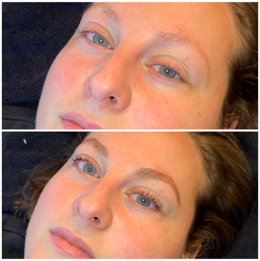 Blonde brow stain, lash lift and tint.