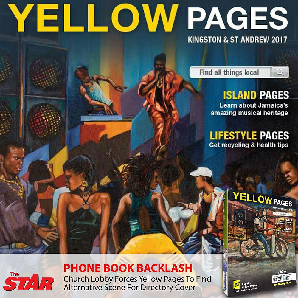 "Lennox Coke's image of the dancehall which appears on the cover of the 2017 Kingston & St Andrew Yellow Pages was rejected by fundamental religious lobby groups. Global Directories acknowledged their advertiser's concerns by publishing an alternative cover for the directory.  Coke capitalized on the controversy by selling prints of the image from the limited edition phonebook amidst plans to design a ""Luv Mi Culture"" t-shirt line."