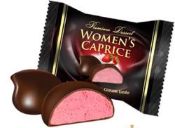 Lukasia «Women's caprice» eper és tejszín ízű desszert (Habosított desszert, kakaós étbevonóba mártv