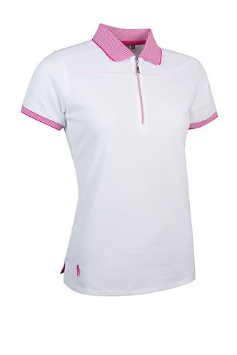 Glenmuir NADIA Ladies Zip Neck Performance Pique Golf Polo Shirt, White/Magenta