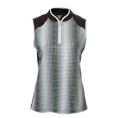 JRB Women's Black Spot Sleeveless Polo Shirt