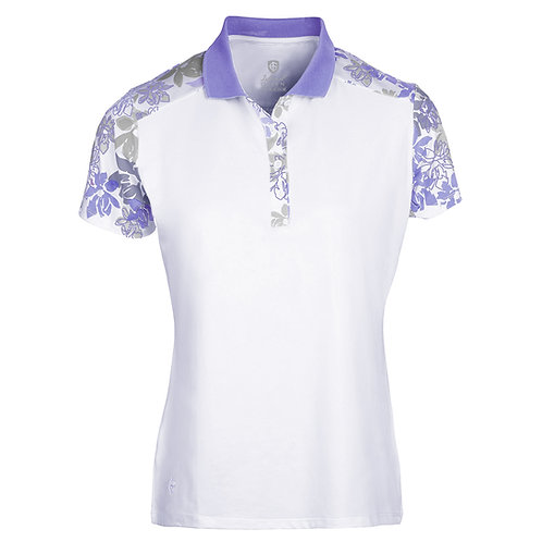 Island Green Iris Floral Quick Dry Polo