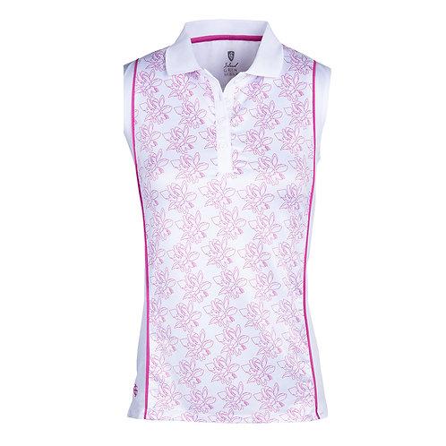 Island Green Freesia Floral Sleeveless Polo Shirt