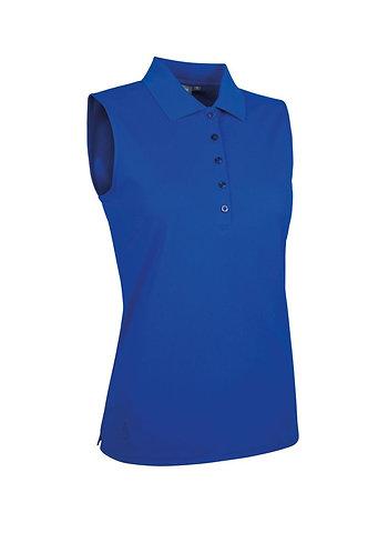 Glenmuir JENNA Ladies Sleeveless Performance Pique Golf Polo Shirt, Ascot Blue