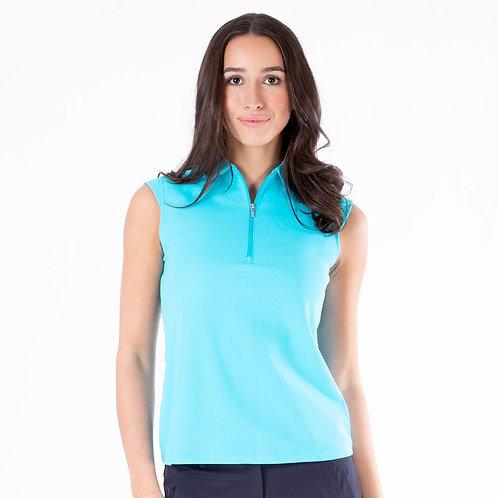 Nivo Nikki Sleeveless Essential Zip Polo