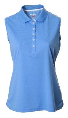 JRB Women's Blue Pique Sleeveless Polo Shirt