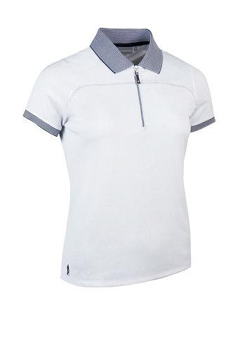 Glenmuir NADIA Ladies Zip Neck Performance Pique Golf Polo Shirt, White/Navy