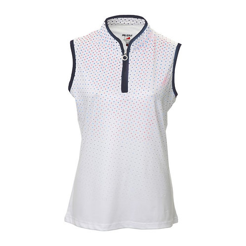 JRB Women's White With Blue & Pink Spots Sleeveless Polo Shirt