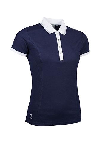 Glenmuir HARLOW Ladies Lurex Tipped Performance Pique Golf Polo Shirt, Navy