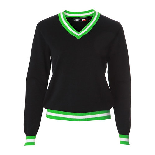 JRB Women's Sweater - Black With Green And White Details