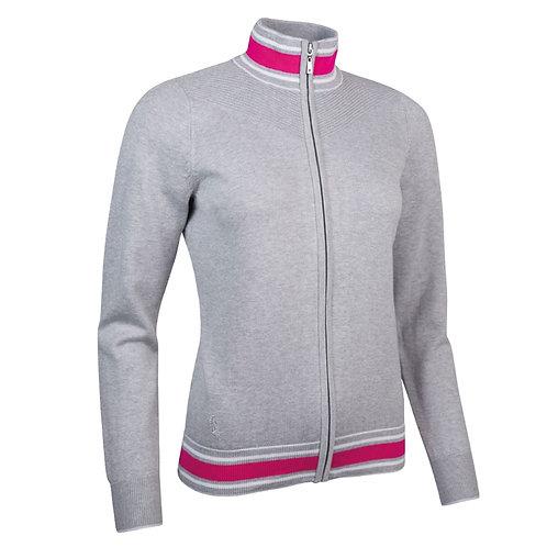 Glenmuir UMA Zip Through Ottoman Chevron Cotton Golf Sweater,Light Grey Marl