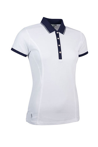 Glenmuir HARLOW Ladies Lurex Tipped Performance Pique Golf Polo Shirt,White
