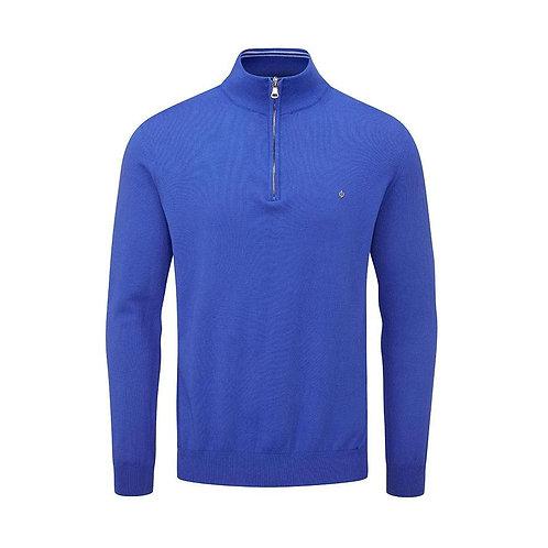 Oscar Jacobson Waldorf Pin Cotton Zip Neck Sweater, Royal Blue