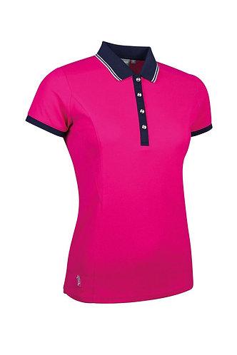 Glenmuir HARLOW Ladies Lurex Tipped Performance Pique Golf Polo Shirt, Magenta