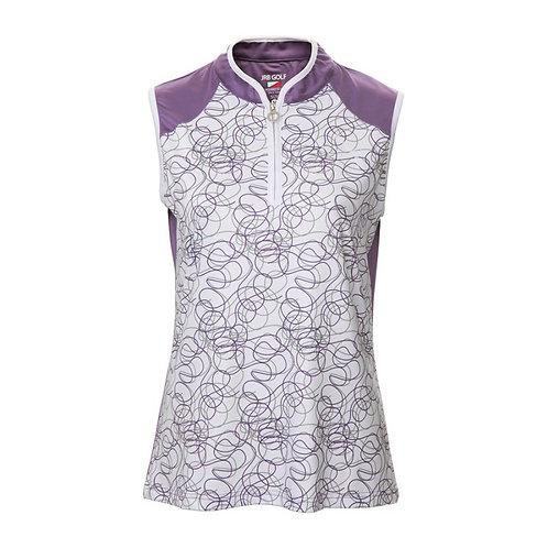 JRB Women's Purple Twirl Sleeveless Polo Shirt