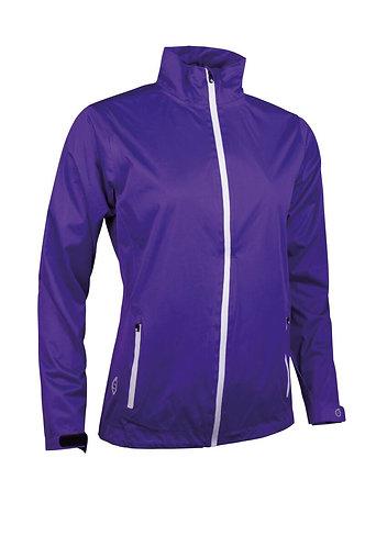 Sunderland Whisperdry Lightweight Waterproof Golf Jacket, Purple/White