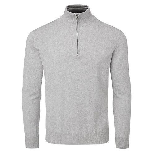 Oscar Jacobson Waldorf Pin Cotton Zip Neck Sweater, Light Grey
