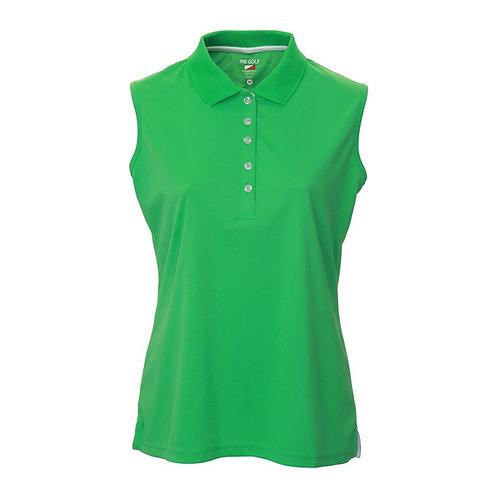 JRB Women's Green Pique Sleeveless Polo Shirt