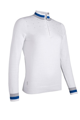 Glenmuir GAELLE Zip Neck Contrast Rib Diamante Cotton Golf Sweater, White