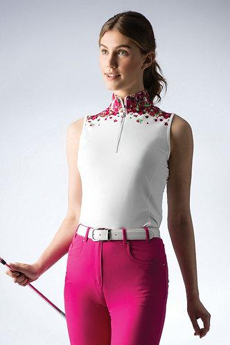 Glenmuir IRINA Ladies Stand Up Collar Sleeveless White/Magenta Floral Patterned