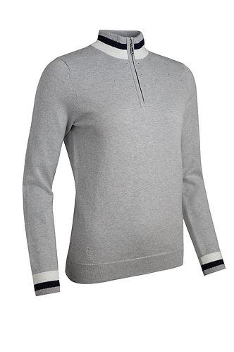 Glenmuir GAELLE Zip Neck Contrast Rib Diamante Cotton Golf Sweater, Light Grey