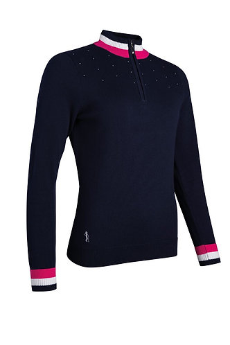 Glenmuir GAELLE Zip Neck Contrast Rib Diamante Cotton Golf Sweater, Navy