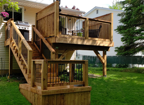 12x12 Deck Build with a landing and staircase leading to a 6x6 landing near the ground