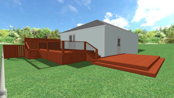 3D Rendering of two connected 12x20 surrounding house
