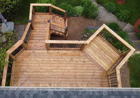 Custom Designed Deck Build with Sitting Area to Enjoy Amazing View of Beautifully Landscaped backyard