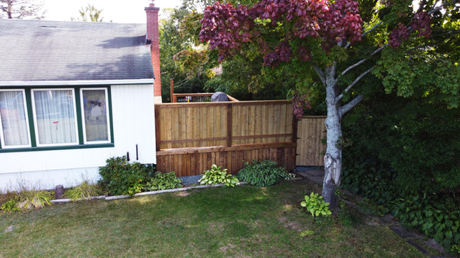 Front View of Deck Build including Privacy Wall and Gate