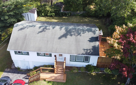 High Drone Shot of Two Back Decks and Front Deck