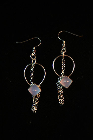 drop S T U D & D A N G L E earrings in grey chalcedony