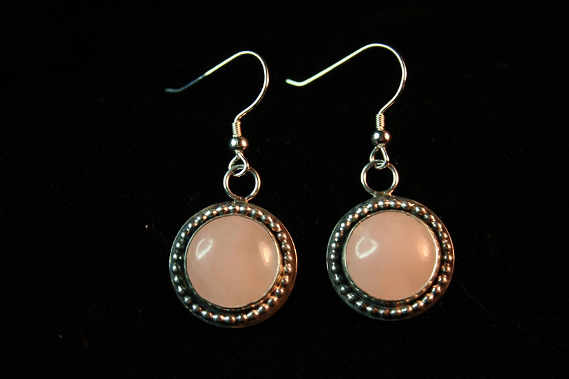 C A L M B O M B earrings in rose quartz