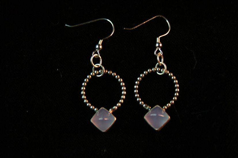 drop S T U D earrings in grey chalcedony