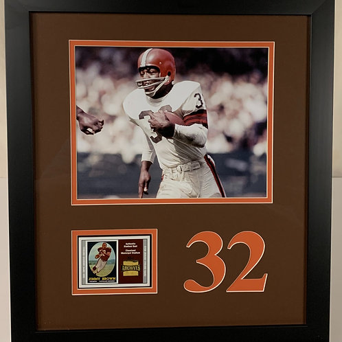 Cleveland Browns Jimmy Brown Piece of Stadium Seat from Municipal Stadium Card