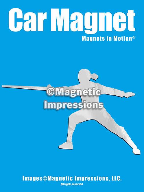 Female Fencer Magnet in Motion