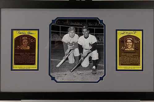 Pee Wee Reese & Phil Rizzuto Autographed HOF Plaque Cards