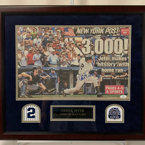New York Yankees Autographed with New York Post Newspaper from 3000th Hit Game