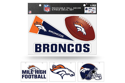 Denver Broncos 6 pack Wall Decals