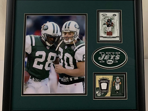 New York Jets Curtis Martin & Wayne Chrebet Game Used Football & Jersey Card