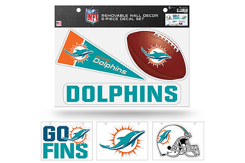 Miami Dolphins 6 pack Wall Decals