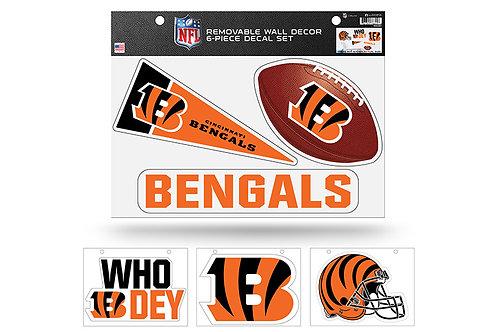 Cincinnati Bengals 6 pack Wall Decals
