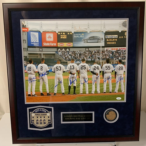 New York Yankees 2008 Opening Day Line Up Autographed with Dirt from Old Stadium