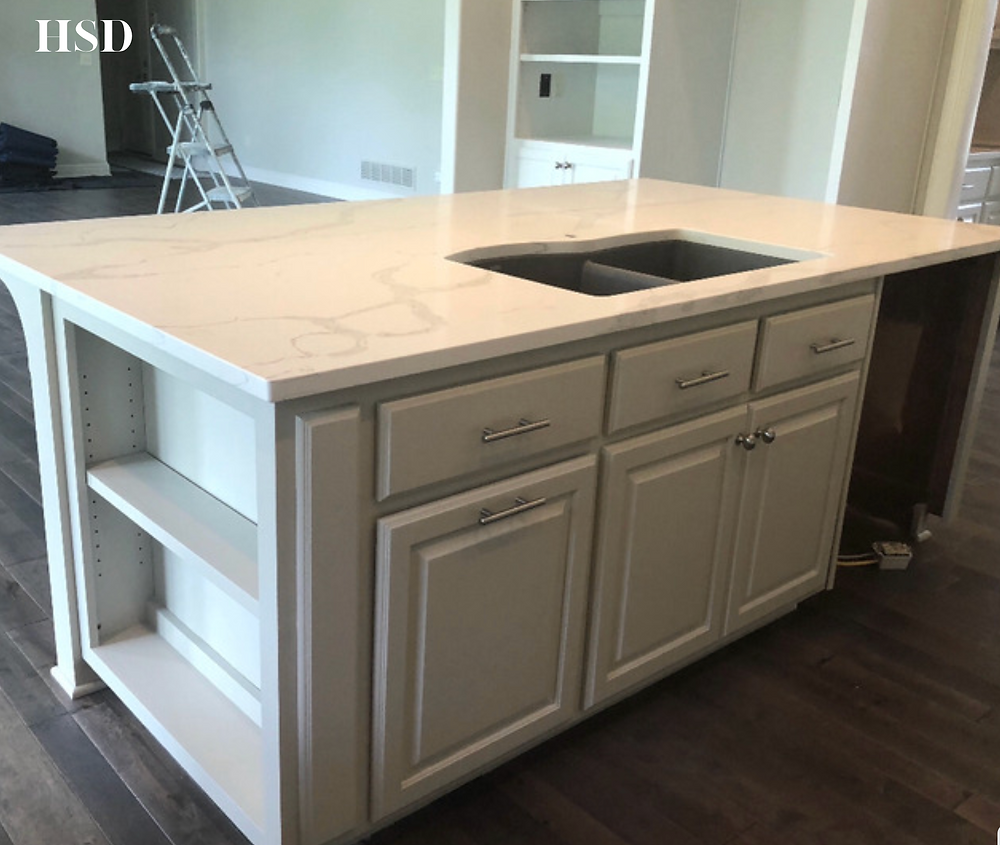 Revere Pewter Cabinets with Quartz Countertops