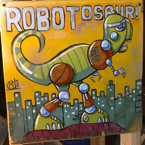 Robotosaur Original Painting on wood Panel