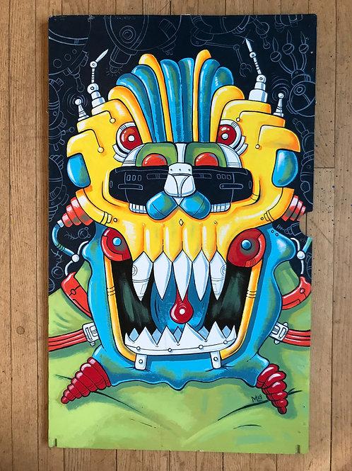 """Skullbot"" original acrylic painting on reclaimed wood."