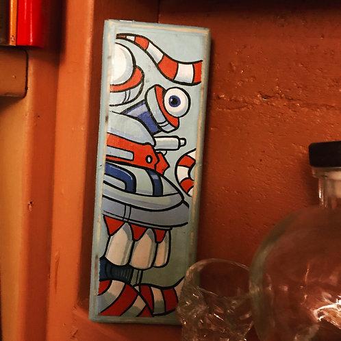 Ameribot (original acrylic on small wood panel)